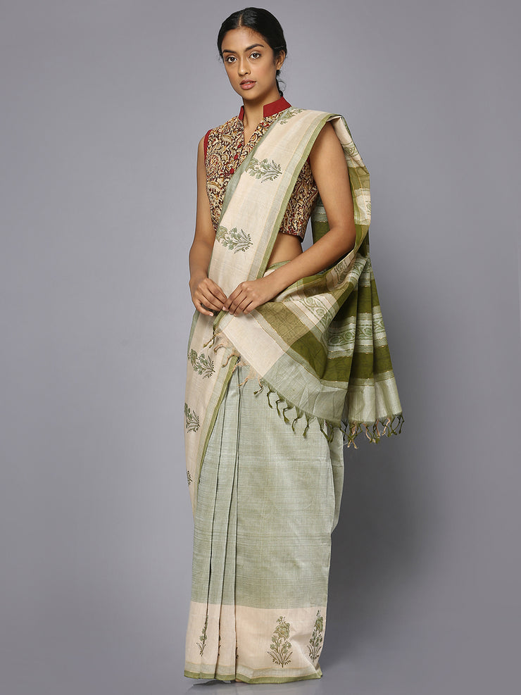 Light green block print cotton saree