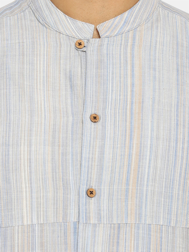 Light blue striped mandarin collar shirt