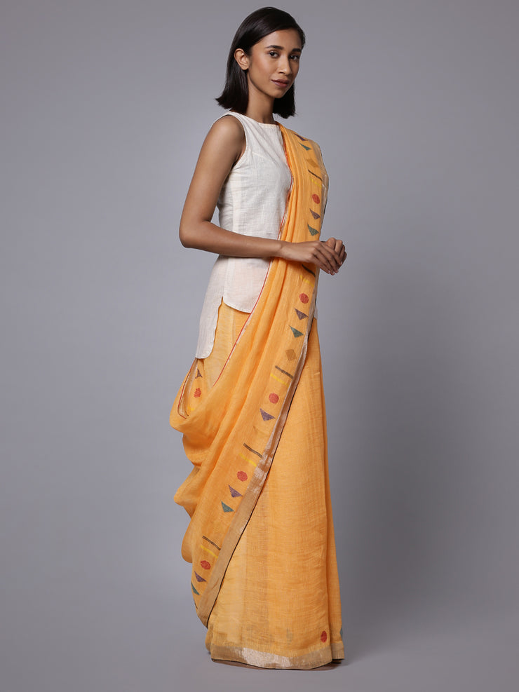 Yellow orange jamdani linen handloom saree