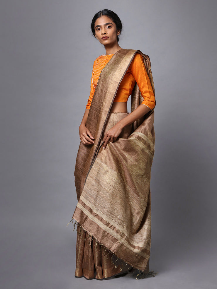 Light Brown Handloom Tussar Silk Saree