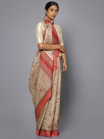 Beige & red tussar silk saree