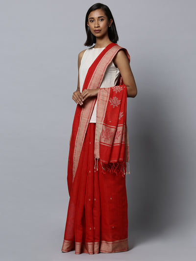 Red matka silk bengal handloom saree