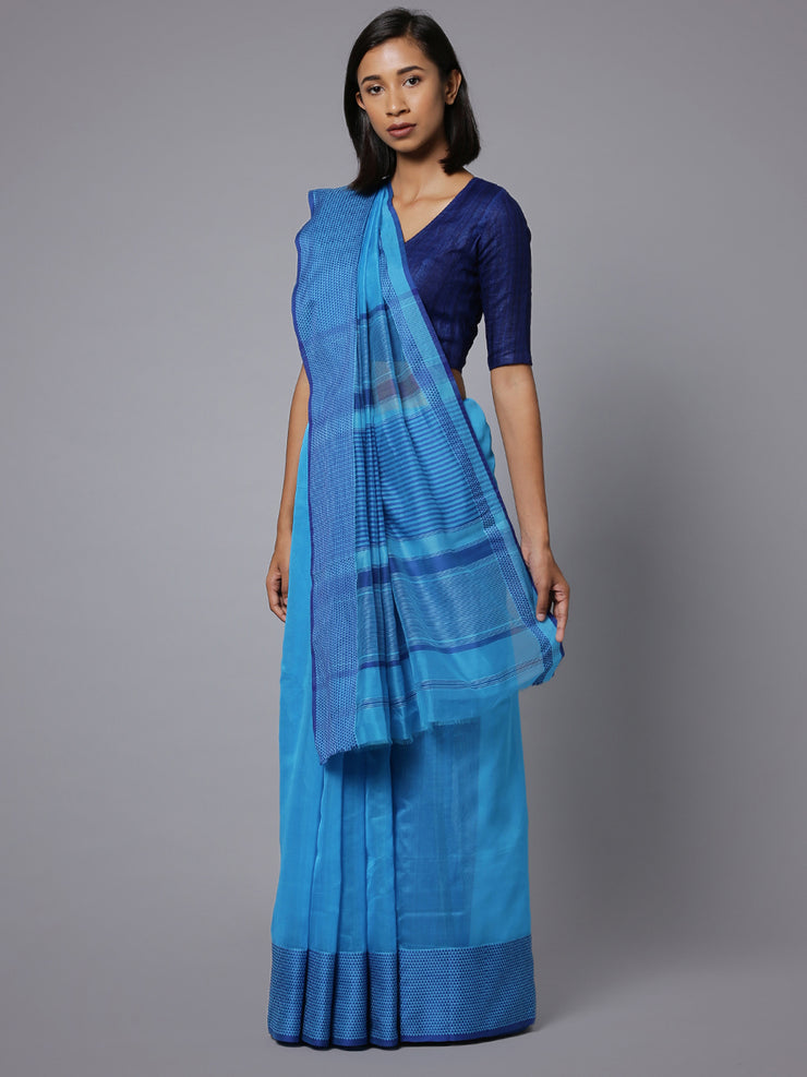 Blue handloom maheshwari cotton silk saree