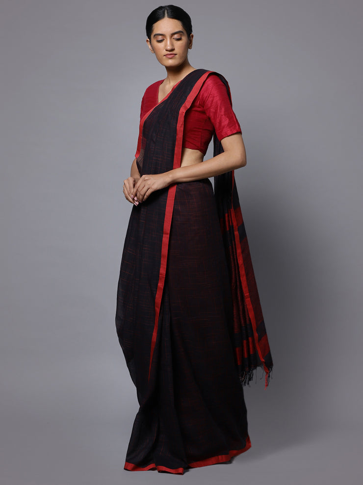 Black red bengal soft cotton handloom saree