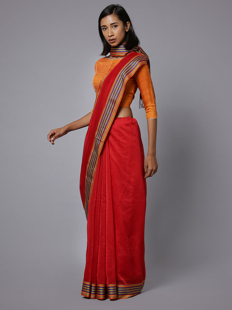 Red handloom maheshwari cotton silk saree