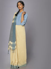 Earthy indigo soft cotton saree