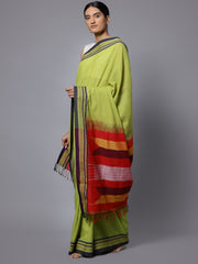 Lime green ilkal handloom cotton saree