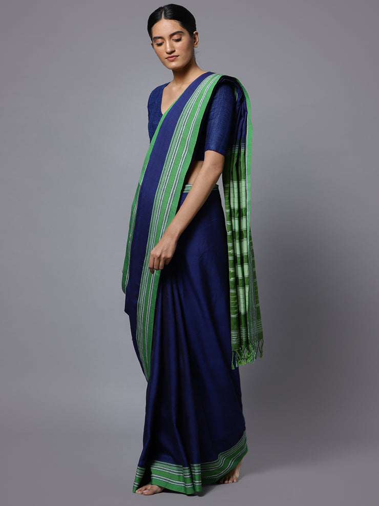 Navy blue ilkal handloom cotton saree