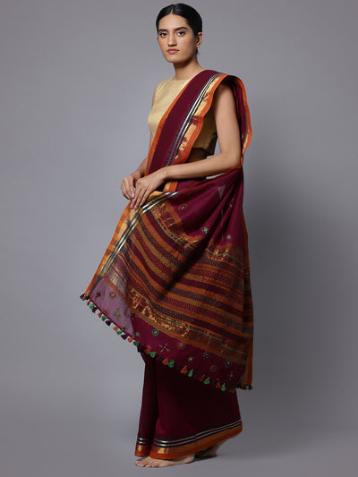 Hand embroidery magenta cotton saree