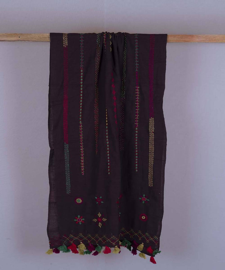 Dark wine lambani hand embroidered cotton stole