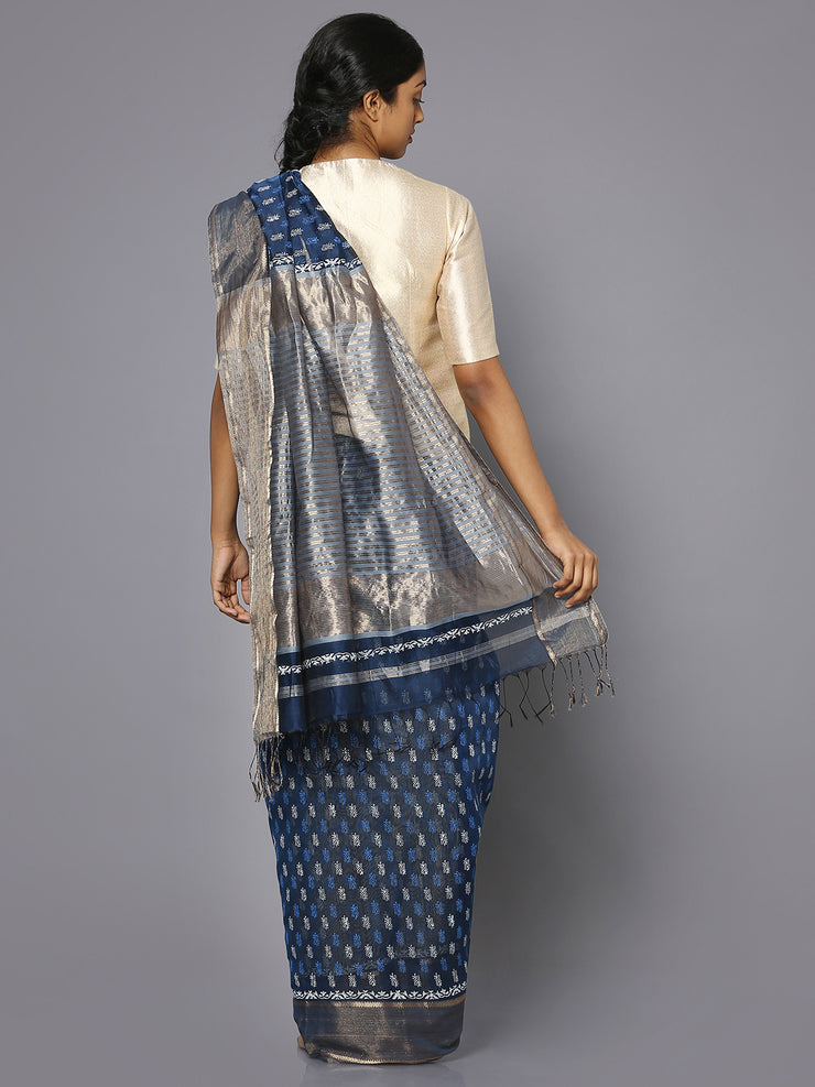 Blue silk cotton printed maheshwari saree