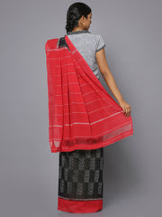 Black & red ikat cotton saree
