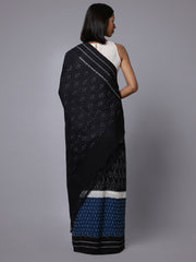 Blue black ikat handloom cotton saree