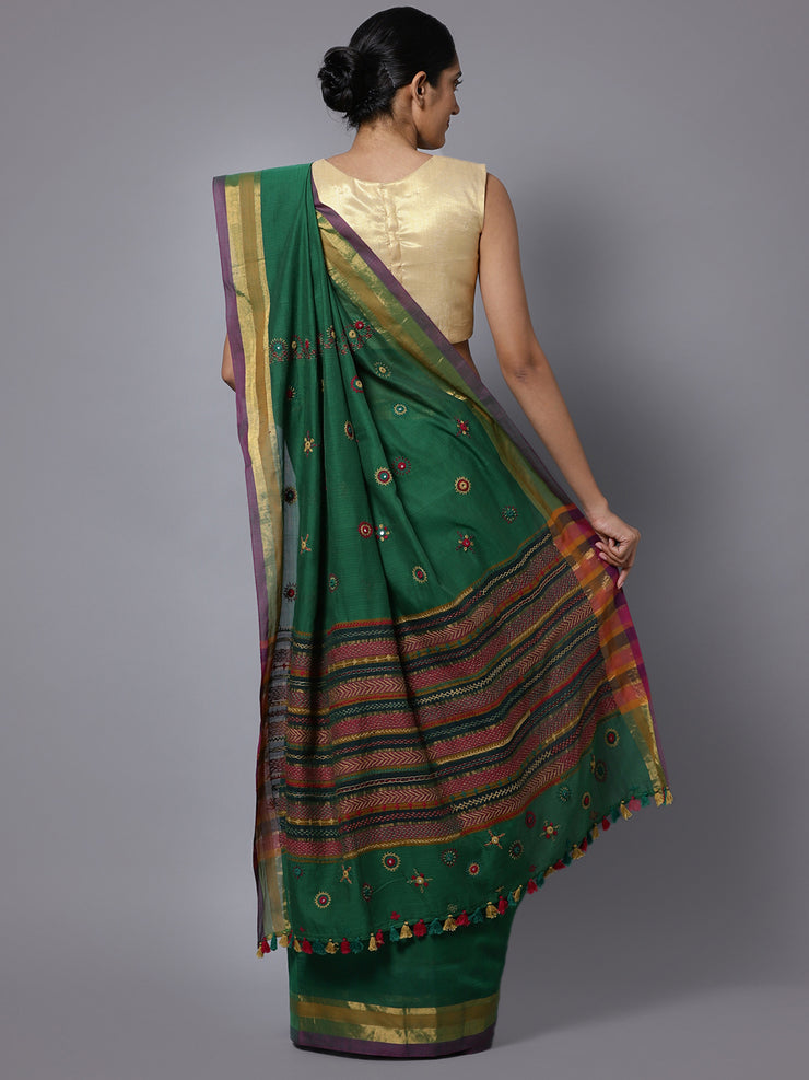 Dark green hand embroidery cotton saree