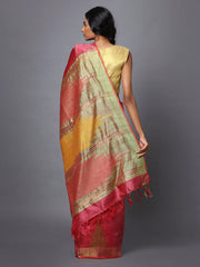 Pink and Beige Handloom Tussar Silk Saree