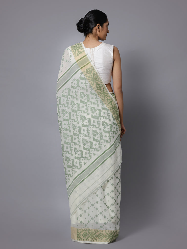 White jamdani bengal handloom cotton saree