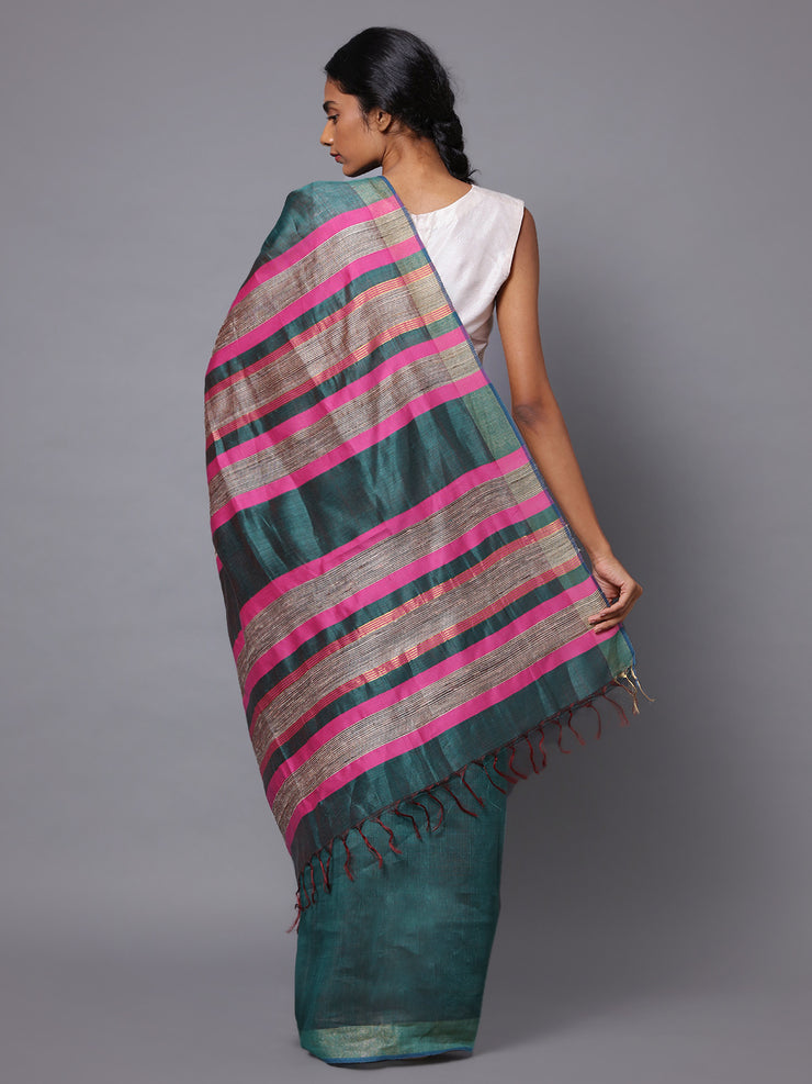 Green Grey Handloom Tussar Silk Saree