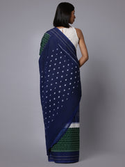 Blue green ikat handloom cotton saree