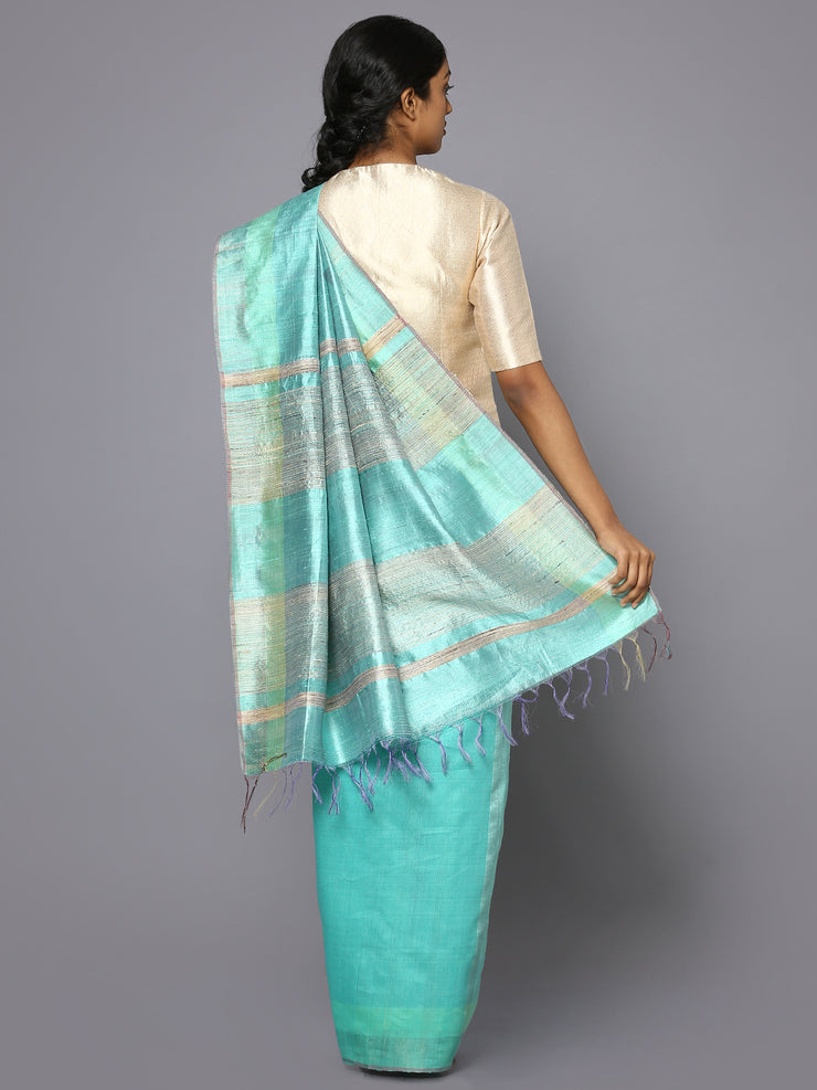 Aqua blue tussar silk saree