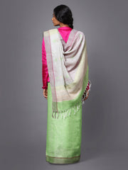 Light Green Handloom Jamdani Linen Saree