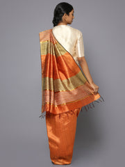 Plain orange tussar silk saree