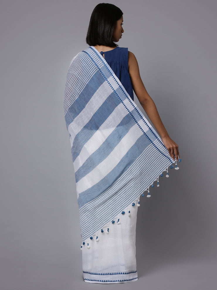 White handloom cotton linen saree