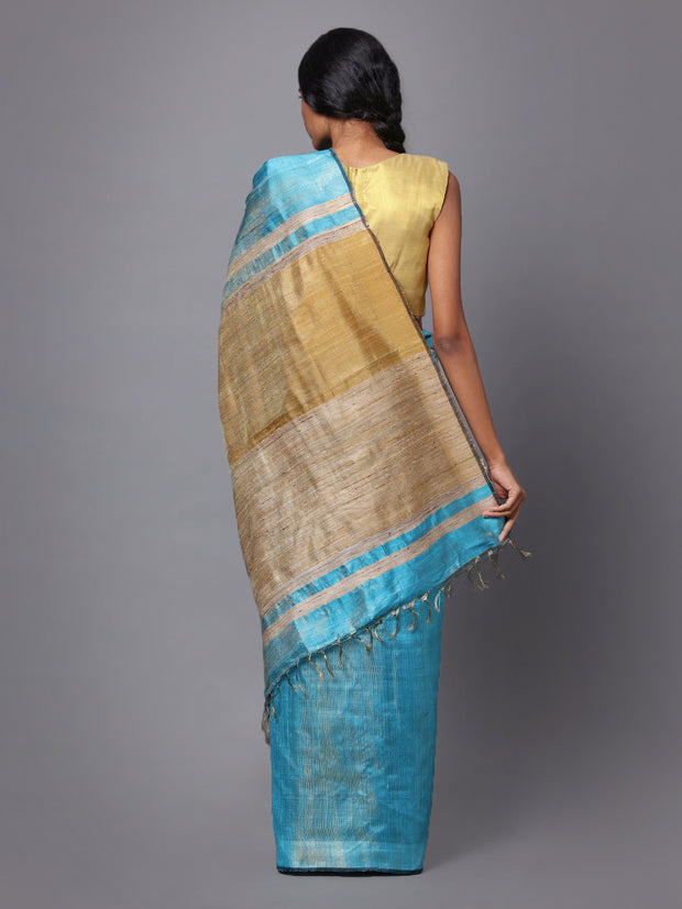Light Sky Blue Handloom Tussar Silk Saree