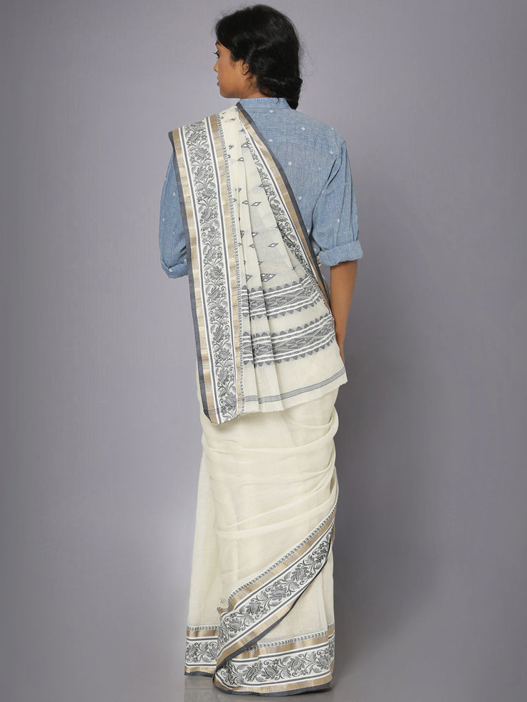 Off white tant cotton saree