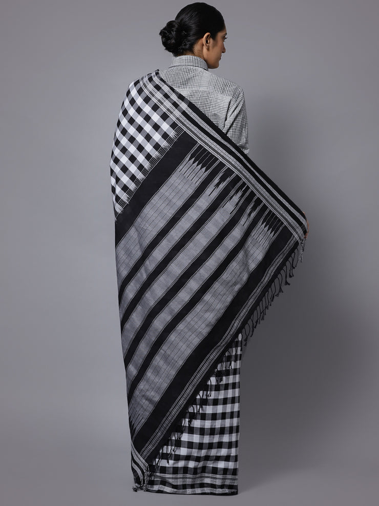 Black white checks ilkal handloom saree