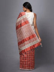 Rust Brown Checks Handloom Tussar Silk Saree