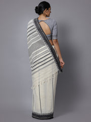 Off white cotton handloom saree