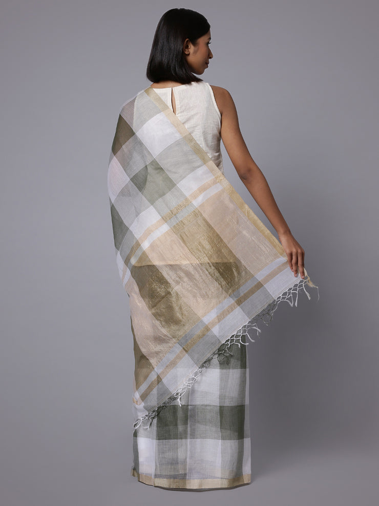 Grey white checks handloom cotton silk saree