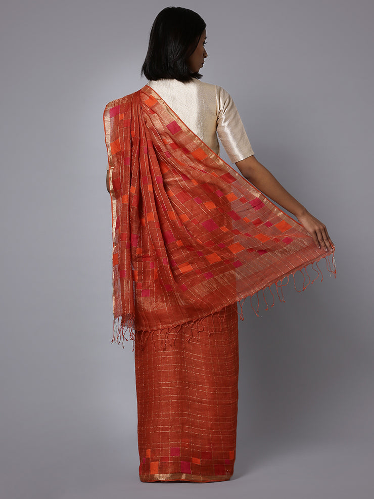 Rust brown jamdani linen handloom saree