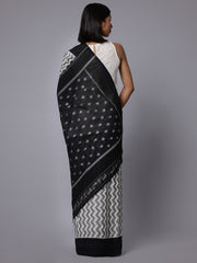 Grey white ikat handloom cotton saree