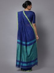 Navy blue bengal soft cotton handloom saree
