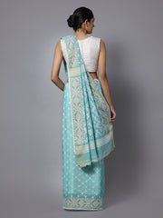 Aqua blue jamdani handloom cotton saree