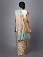 Handloom Light Brown Tussar Silk Saree