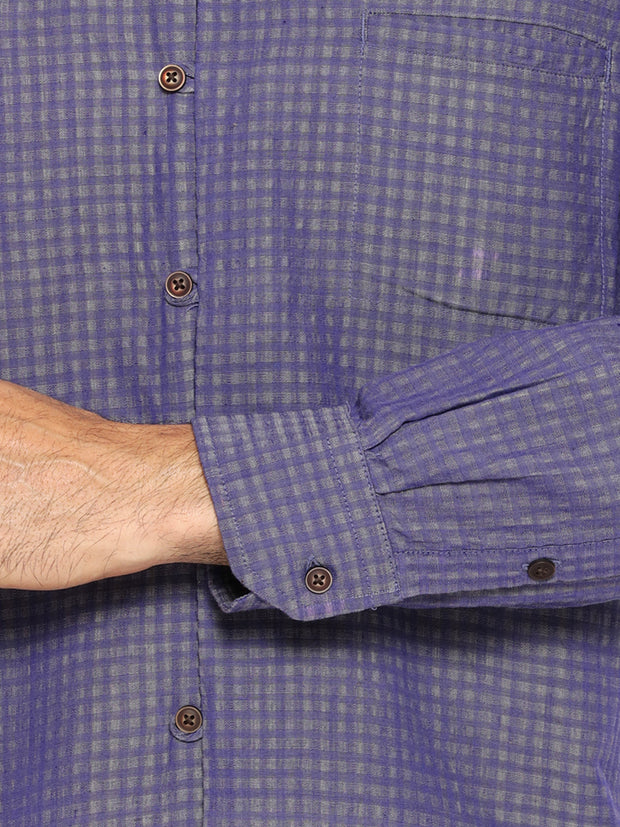 Lavender blue mandarin collar shirt