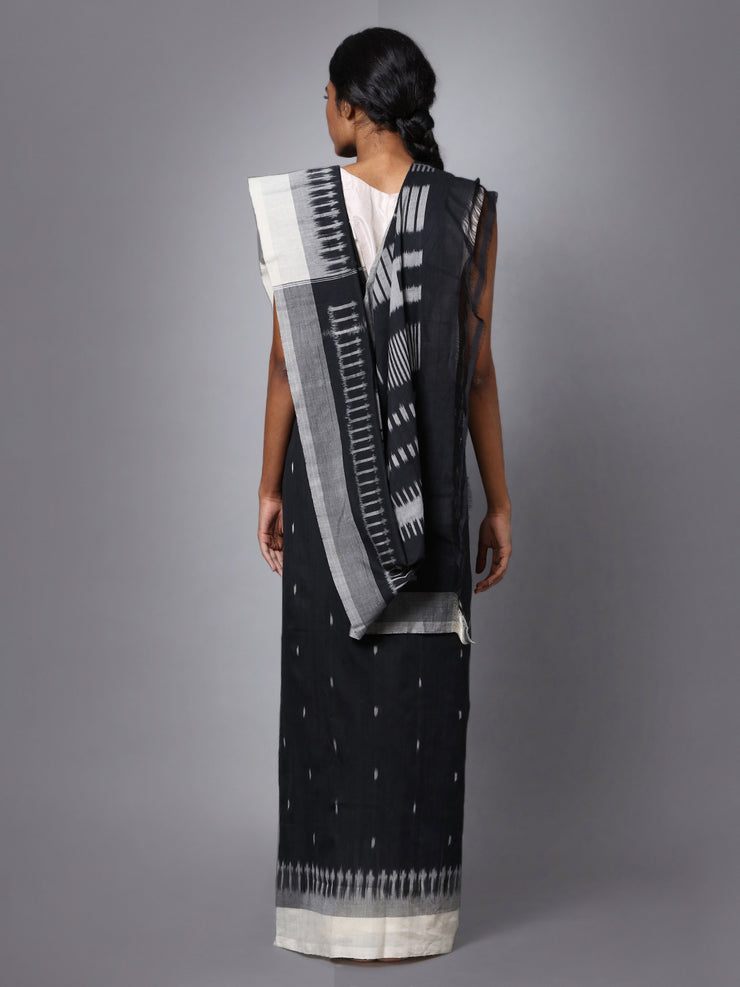 Pochampally Ikat Black Handloom Cotton Saree