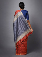 Brown Red Handloom Tussar Silk Saree