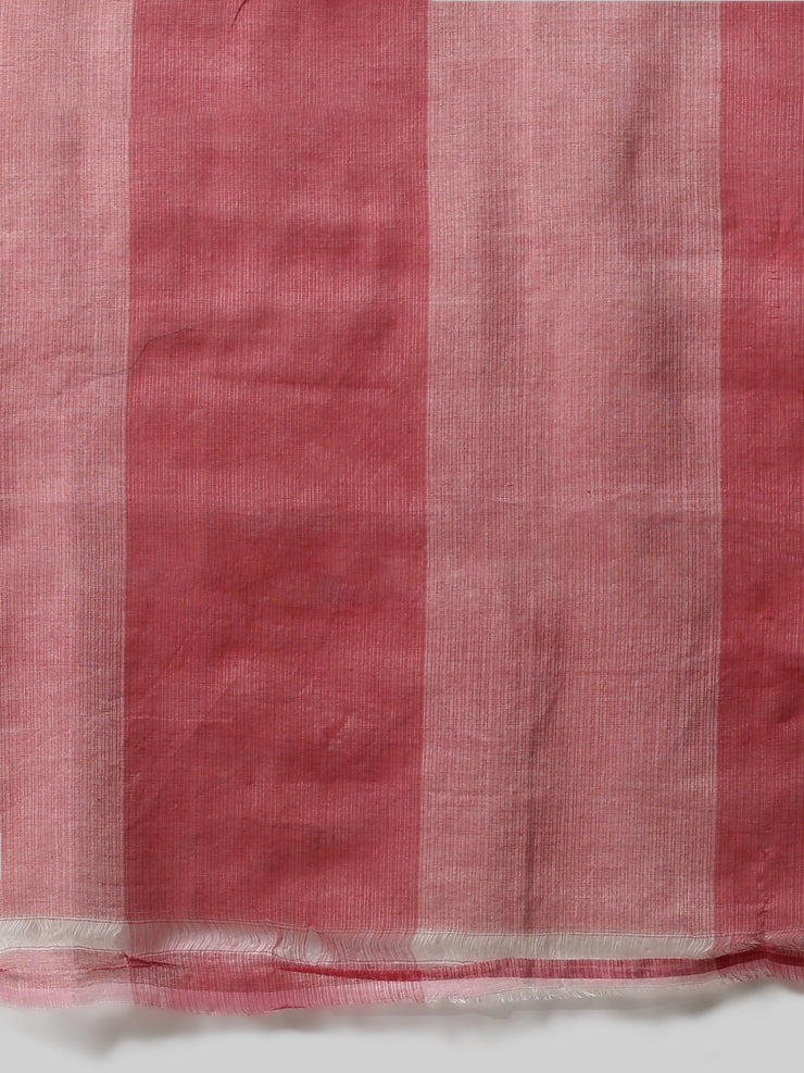 Peach white checks handloom cotton silk saree
