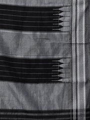 Black grey ilkal handloom cotton saree