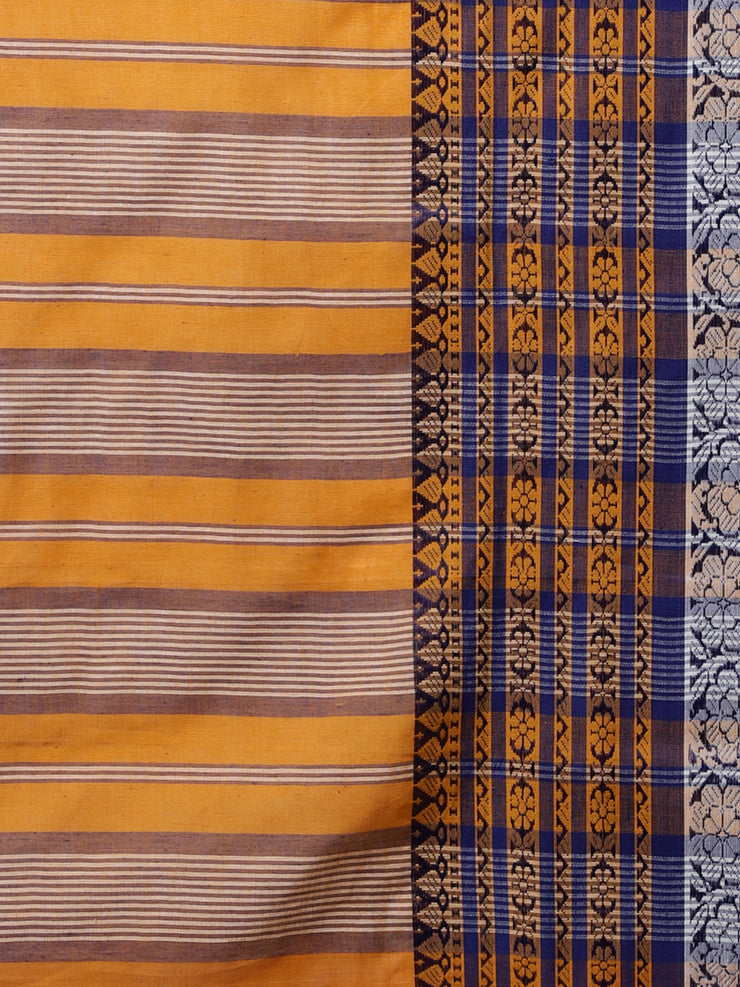 Orange handloom cotton bengal saree