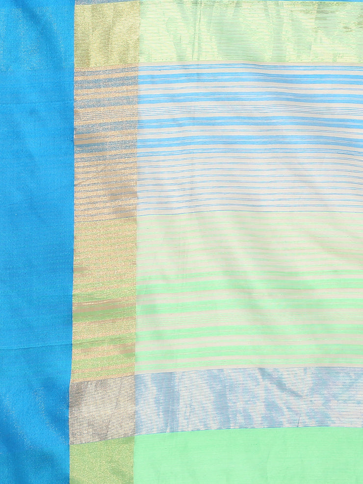Beige & blue silk cotton maheshwari saree