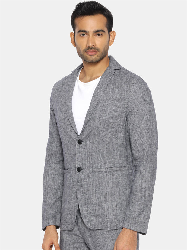 Grey handwoven khadi cotton blazer