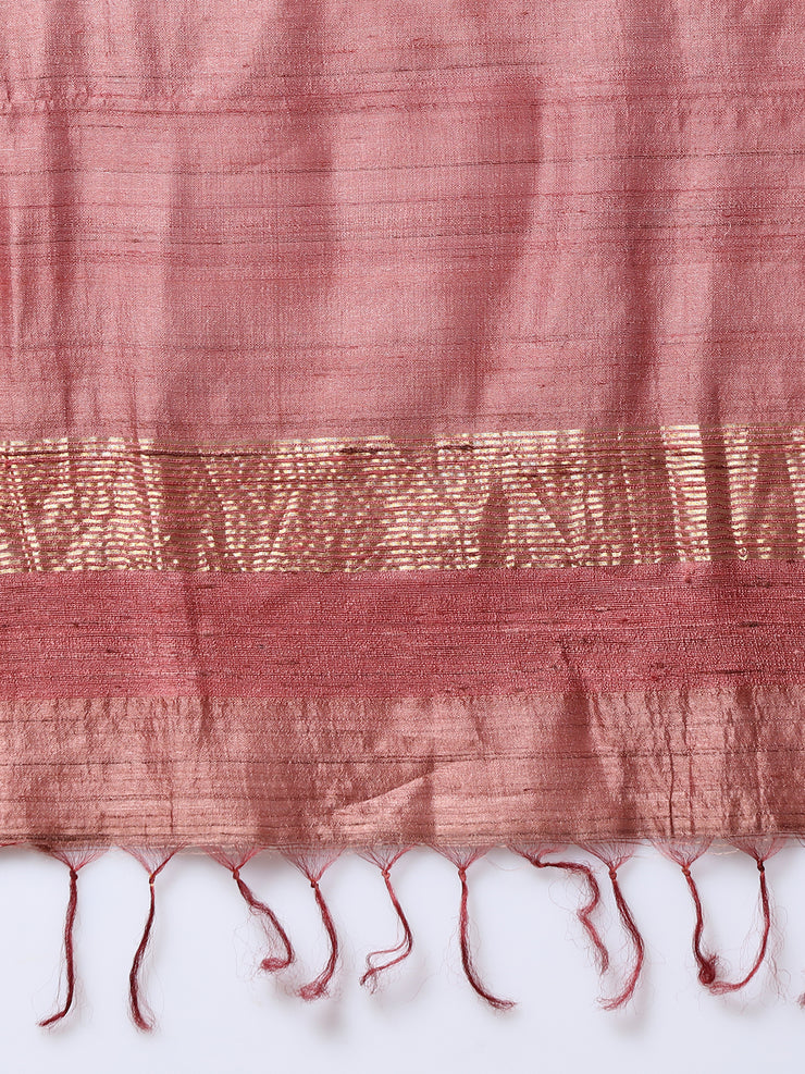 Light Mauve Handloom Tussar Silk Saree