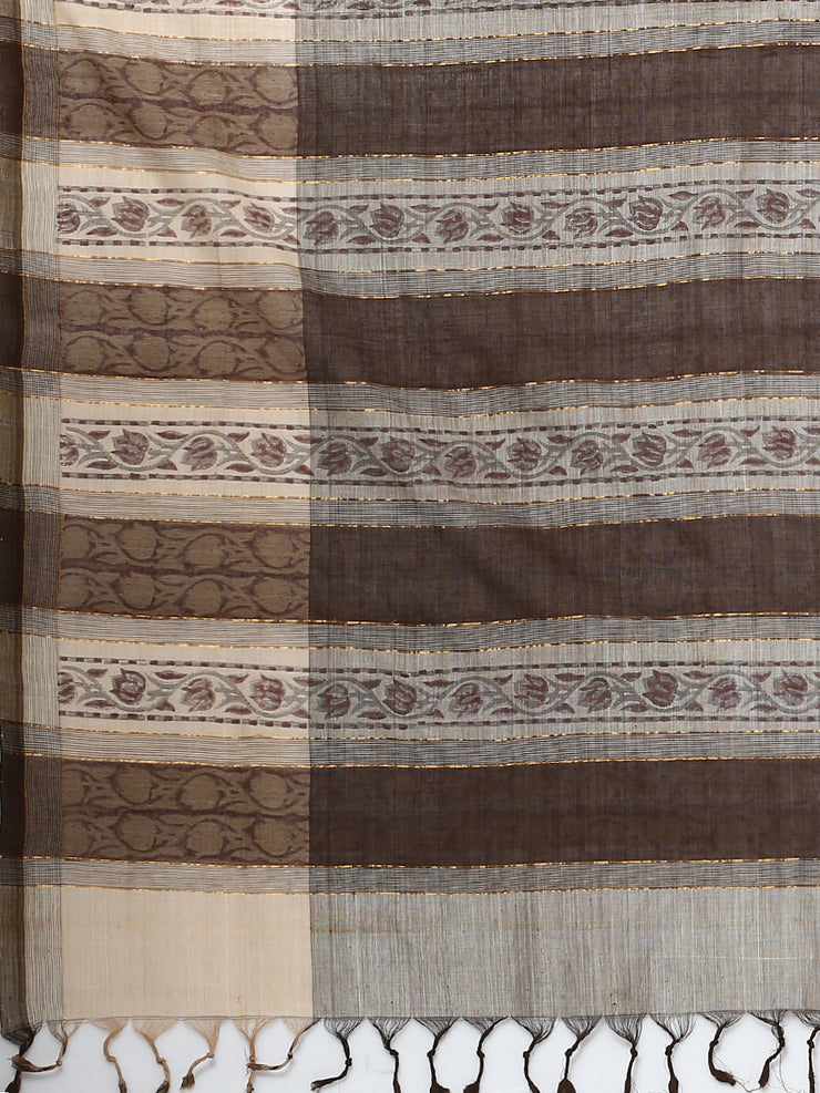 Light grey block print cotton saree