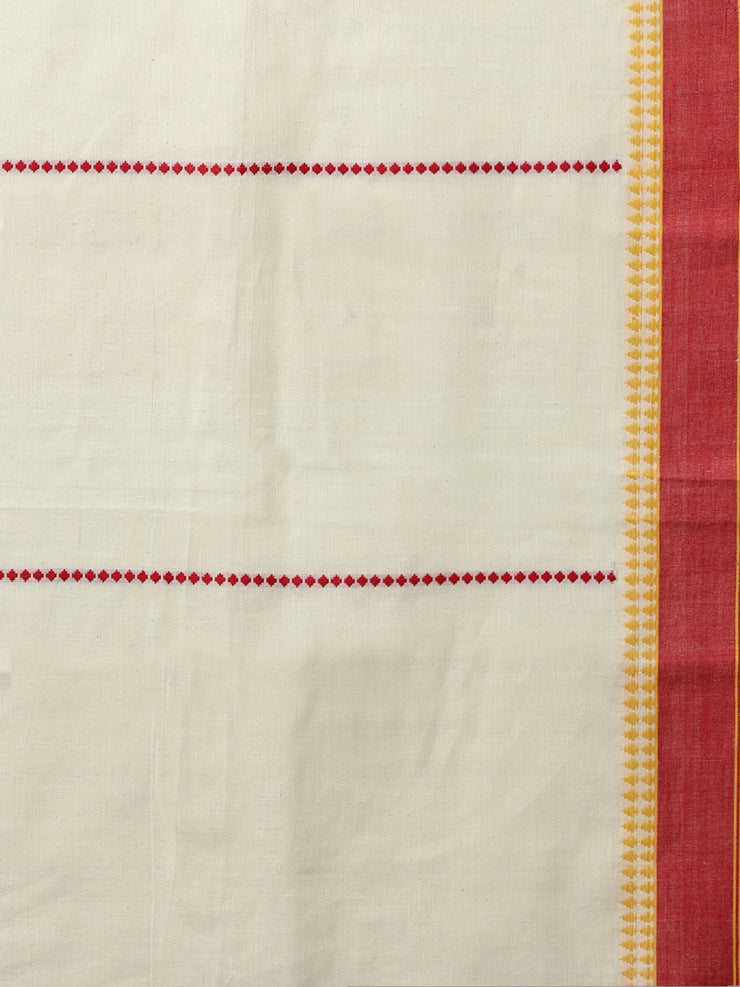 Off white begumpuri cotton handloom saree