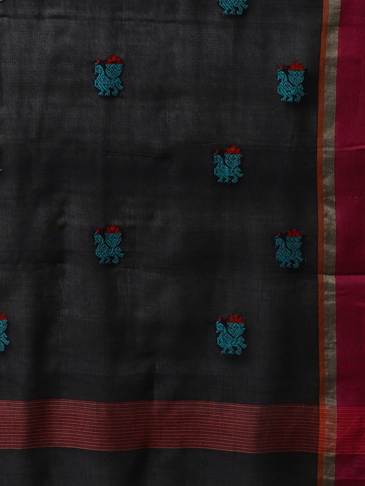 Black phulia jamdani handloom cotton saree