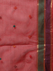 Red hand embroidery cotton saree